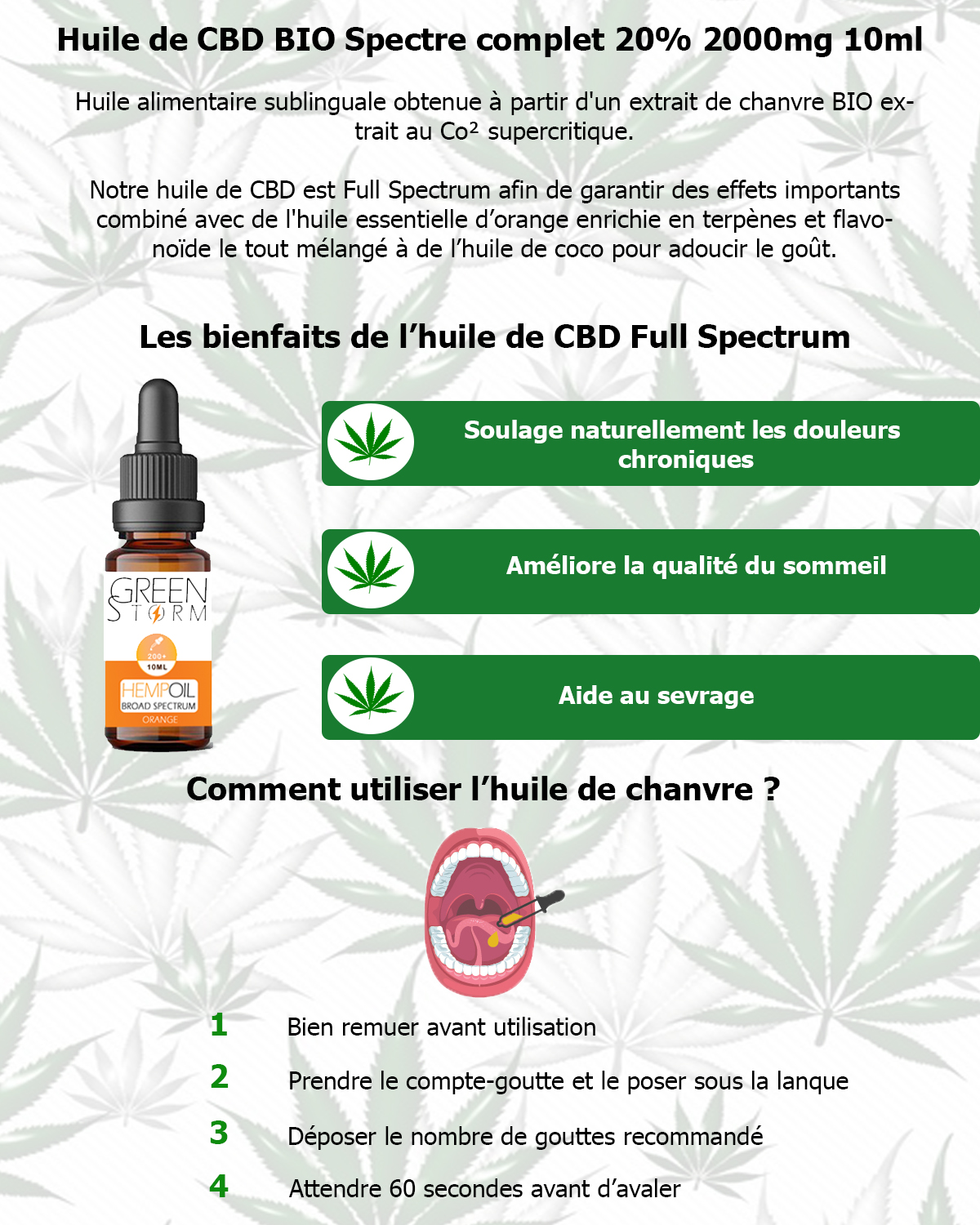 Huile de cbd full spectrum saveur orange greenstorm 20%